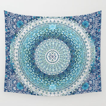 Teal Tapestry Mandala Wall Tapestry by ninamay