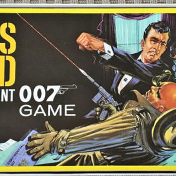 Vintage 1961 James Bond Secret Agent 007 Board Game by Milton Bradley / Retro Spy Game / Movie Character