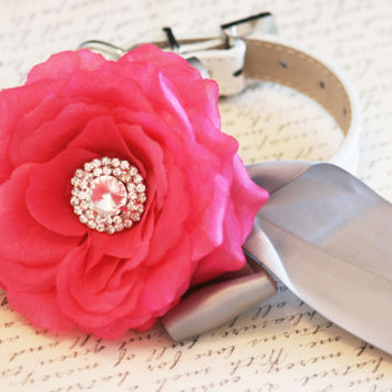 Hot Pink Floral Dog Collar, Pet Wedding Accessory, Pink and Silver Wedding accessory