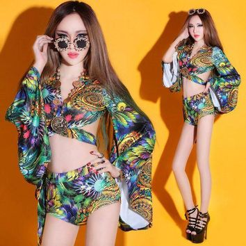 DCCKLW8 (top+shorts) female costume sets print dress nightclub sexy women DS new dance bar singer DJ stage singer hollow show party