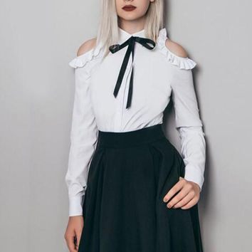White Cut Out Ruffle Bow Long Sleeve Blouse