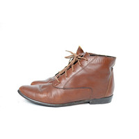 size 7.5 brown leather lace up ankle boots