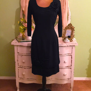 Exquisite! 50s Formal Dress, Black Rose Dress, 1950s Gown, MS/M, Hollywood Glam, Classy Vintage Dress, Elegant Evening Dress, Opera Dress