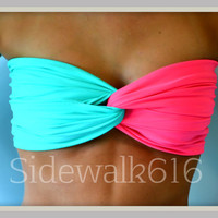 Coral Mint Bandeau Top
