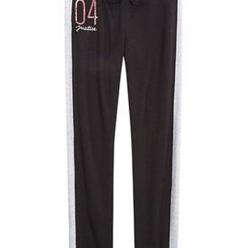 Justice Girl's Embellished Logo Skinny Cuff Sweat Pants in Black Size 10 NWT