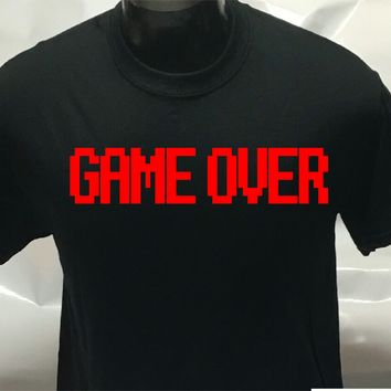 GAME OVER T-SHIRT - Gaming Geek Nerd Computer Retro Tee Shirt