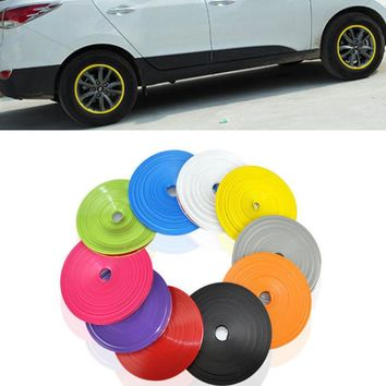 8M Car Decorative Strip Wheel Hub Tire Sticker Body/Rim Covers For Hyundai Santa Fe Solaris Sonata Terracan Tiburon Tucson