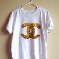 Gold Chanel Logo CC Adult T-Shirt