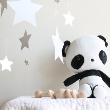 Plushie Panda Bear Babyshower Giftset Black and White Organic Wood Teether Rattle Silver Star Mobile First Birthday Present Woodland Nursery