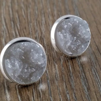Druzy earrings- grey drusy silver tone stud druzy earrings