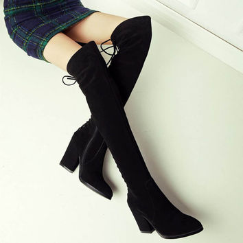 Real Leather Womens Back Lace Up Thigh Heel Slim Horse Riding Boots Thick Leg Long Sexy Cork Cross Strap Stretch Winkle Picker