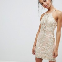 Parisian Petite Embroidered Metallic Dress at asos.com