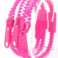 Fuchsia Zipper Decor Bracelet Trio
