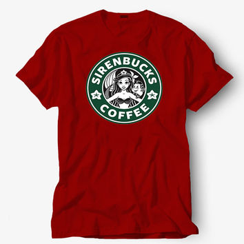 Sirenbucks Ariel Mermaid Coffee shirt, Starbucks shirt, Hot product on USA, Funny Shirt, Colour Black White Gray Blue Red