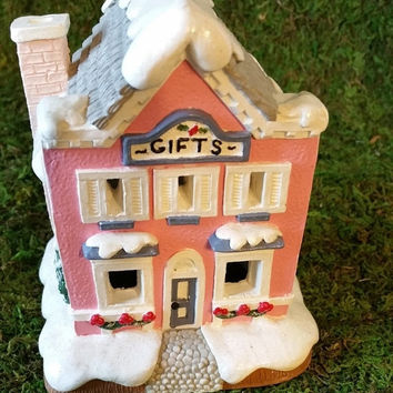 Hand Painted House, Gift Shop, Christmas Village House, Ceramic House, Holiday Tea Light House, Collectible House, Vintage