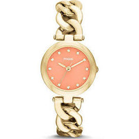 Fossil Olive Coral Dial Gold-tone Ladies Watch ES3575