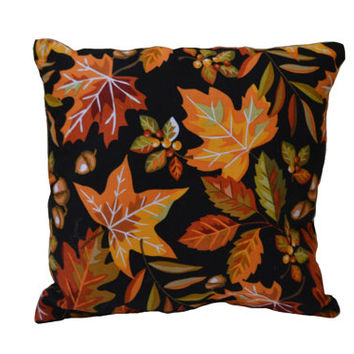Black Colorful Leaf Pillow, Acorn Pillow, Autumn Pillow, Fall Decor, Shelf Sitter, Gift for Her, Accent Pillow, Home Decor, Leaves