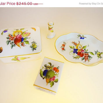 Rare Herend Hungary Fruits & Flowers Smoke Set...