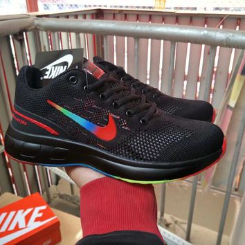 """Nike"" Men Sport Casual Fashion Multicolor Rainbow Hollow Flyknit Sneakers Running Shoes"