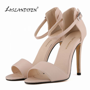 LOSLANDIFEN Womens Pumps 11cm Open Toe Ankle Straps High Heels Summer Shoes Women Bridal Pumps 102-2MA