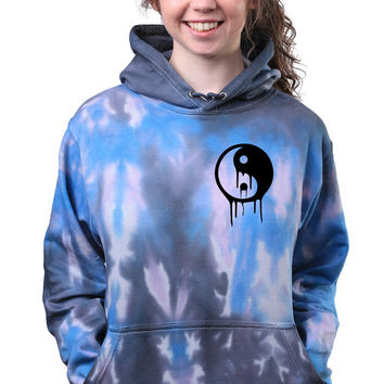 Acid Wash Yin Yang Dripping Sign Soft Grunge Tie Dye Hoodie Sweatshirt Jumper