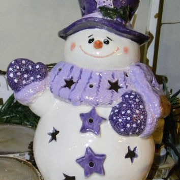 Snowman Light - in Pretty purple Lighted Night Light   Let it Glow