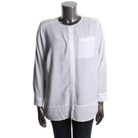 Calvin Klein Womens Plus Long Sleeves Perforated Button-Down Top