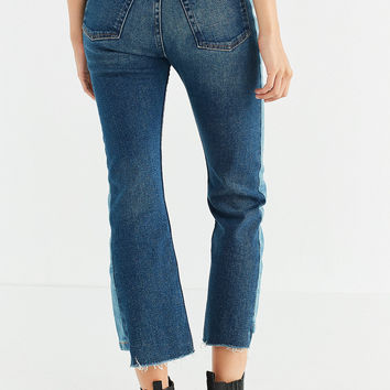 BDG Kick Flare High-Rise Cropped Jean – Patched Stripe | Urban Outfitters