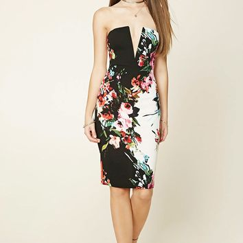 Strapless Floral Bodycon Dress