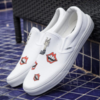 Trendsetter VANS Canvas Old Skool Red Lips Flats Shoes Sneakers Sport Shoes