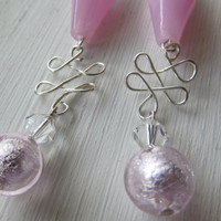Pink Jewlery - Pink Earrings - Beaded Jewlery - Mothers Day Gift