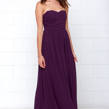 Royal Engagement Strapless Purple Maxi Dress