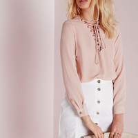Missguided - Scalloped Edge Blouse Pink