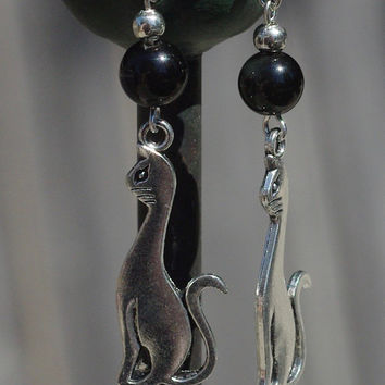 Black Onyx Cat Earrings ~ Halloween Jewellery ~ Black Cat Earrings ~ Onyx Stone Earrings ~ Healing Stones ~ Semi Precious Stones ~ Cat Lover