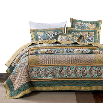 DaDa Bedding Green Tea Dreams Bohemian Paisley Patchwork Quilted Bedspread Set (JHW820)