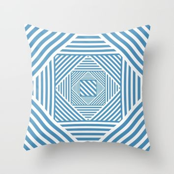 Blue & White Secret Passage Throw Pillow by LLL Creations