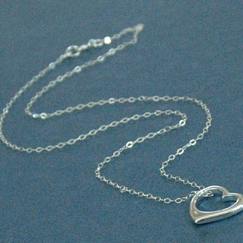 Silver Floating Heart Necklace, Floating Heart, Heart Neckace, Fine Chain Necklace, Heart Necklace, Silver Heart Pendant, Valentine Necklace