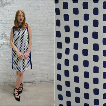 60s mod dress / sleeveless navy and white polka dot dress  / simple minimalist shift dress
