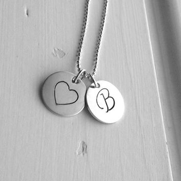 Initial Necklace, Heart Necklace, Letter B Necklace, Initial Jewelry, Heart Jewelry, Charm Necklace, Sterling Silver Jewelry, Large Pendant