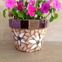 Mosaic flower pot, outdoor planter, summer decor, herb pot, outdoor patio, garden container, rustic planter, handmade mosaics, gardener gift