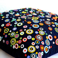 Rapsody of Circles Navy Blue Throw Pillow With Red, Yellow, Blue, Green, Orange Beads Geometric Cushion Cover