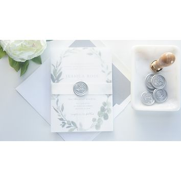 Garden Wreath Vellum and Wax Seal Wedding Invitation - SAMPLE SET
