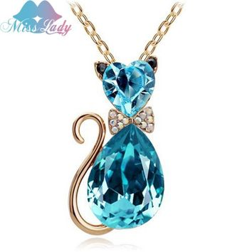 Miss Lady New 2017 Gold color Rhinestone Crystal Cute Lovely Cat  Pendant fashion Necklaces for women 2017 male MLK4575
