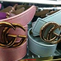 One-nice™ GUCCI Women Fashion Smooth Buckle Belt Leather Belt