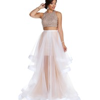 Promo- Miya- White Two Piece Prom Dress