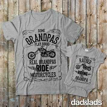 Some Grandpas Play Bingo Real Grandpas Ride Motorcycles and I Would Rather Be Riding With Grandpa Matching Shirts