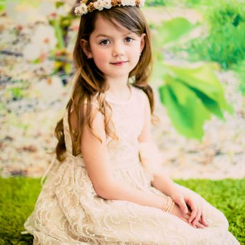 Champagne Satin with Ivory Floral Lace Overlay Occasion Dress (Girls Sizes 2T - 12)