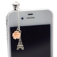 Elegant Eiffel Tower with Rose Iphone Earphone Plug/Dust Plug - Cellphone Headphone Handmade Decorations