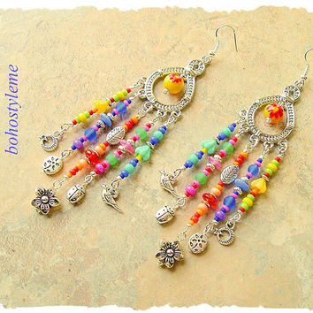 Colorful Dangle Earrings, Handmade Bohemian Jewelry, Boho Fashion Jewelry, Nature Inspired, bohostyleme, Kaye Kraus