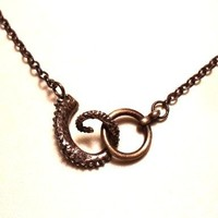 Octopus Choker Lariat Necklace - Oxidized